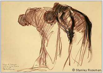 "Drawing by Stanley Roseman, ""Two Monks Bowing in Prayer,"" 1979, Abbaye de Solesmes, France, chalks on paper, National Gallery of Art, Washington, D.C. Copyright © Stanley Roseman."