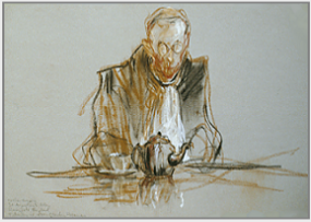 "Drawing by Stanley Roseman, ""Father Gregory at Tea,"" 1980, St. Augustine's Abbey, Kent, England, chalks on paper, Musée des Beaux-Arts, Rouen. © Stanley Roseman."